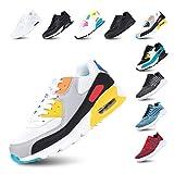 Zapatillas de Running para Hombre Mujer Ligero Correr Air Atléticos Sneakers Comodos Fitness Deportes Calzado BlancoAmarillo 39