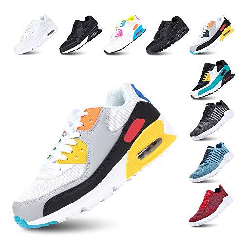 Scarpe Running Uomo Donna Ginnastica Sneaker Leggere Traspirante Outdoor Sportive Calzature da Corsa Pallavolo Tennis F-BianoGiallo 45