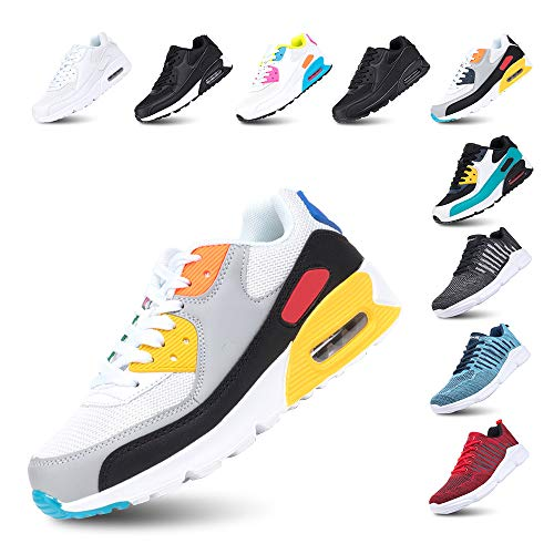 Chaussures de Course Homme Femme Running Sport Fitness Respirantes Legere Gym Athlétique AIR Sneaker Blanc-Jaune 42
