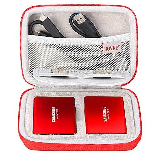Bolsa de transporte BOVKE 2 em 1 para Samsung T5 T3 T1 portátil 250 GB 500 GB 1 TB 2 TB SSD USB 3.1 Tipo C Disco rígido externo unidades de estado sólido, vermelho