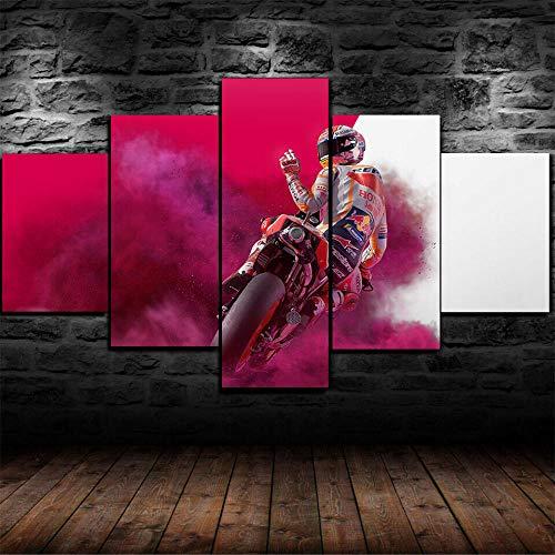 ADKMC IKDBMUE Cuadros Modernos Impresión de Imagen Artística Digitalizada | Lienzo Decorativo para Tu Salón o Dormitorio | 2019 Bicicleta de Carreras de Motos | 5 Piezas 200x100cm(Sin Marco)