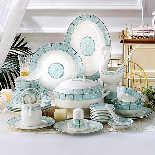 ZJZ Juego de vajilla de cerámica, 48 Piezas de Platos y Cuencos de Porcelana China para reuniones Familiares y Regalos de Boda Juego de Cena de Estilo Europeo