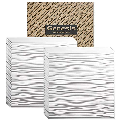 Genesis 2ft x 2ft White Drifts Ceiling Tiles - Easy Drop-in Installation – Waterproof, Washable and Fire-Rated - High-Grade PVC to Prevent Breakage - Package of 12 Tiles