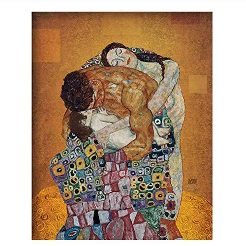 XuFan La Familia de Gustav Klimt Dormitorio Lienzo Retrato de Arte Pintura al óleo Pinturas Pintado a mano-50x70cm Sin Marco