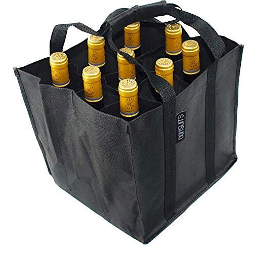 Dom'Suits Bottlebag | 9 extra große Fächer für 1,5L Flaschen | 28x28x28cm | Flaschentasche/Flaschenträger | mit verstärktem Griff | einfach zu verstauen | in schwarz