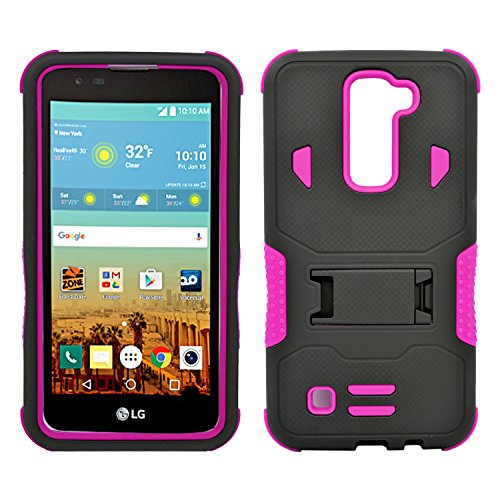 LG K7 Case, Heavy Duty Dual Layer Hybrid Case Cover with Build in Kickstand Protective Case Cover for LG K7 /Tribute 5 (T-Mobile, Sprint, Metro PCS, Boost Mobile) Black on Pink