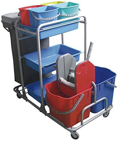 Aviva Clean Esila Master Reinigungswagen 2x25 Liter Eimer mit Presse 4x5 Liter Eimer, 3 Ablagekörbe inkl. Müllsack und Halterung Systemwagen