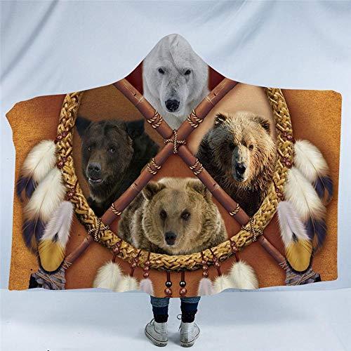 WWTZ Atrapasueños Adultos Manta con Capucha Oso Lobo Tigre Sherpa Indio Manta de Vestir Tribal Textiles para el hogar