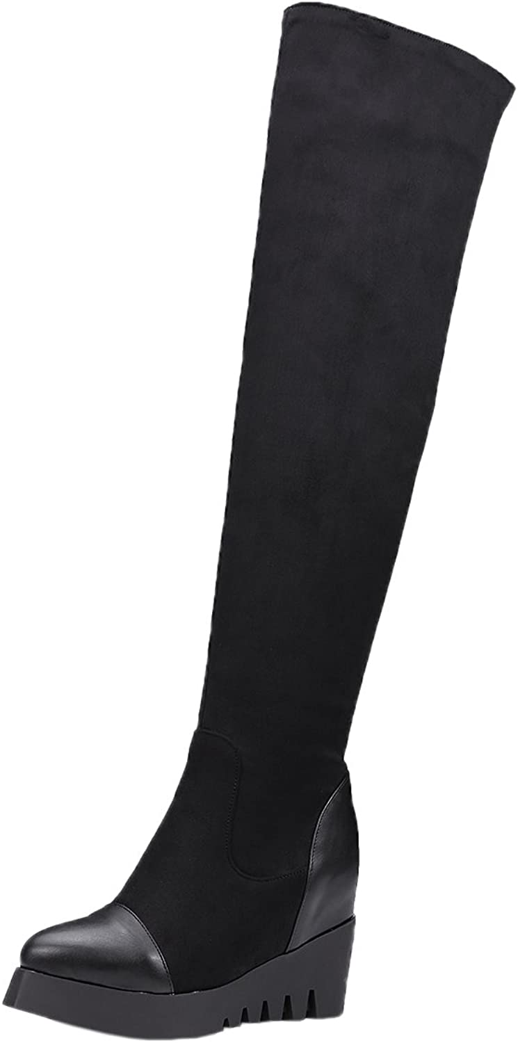 BIGTREE Women Long Boots Increased Black Faux Suede Fall Winter Comfortable Platform Over The Knee Boots