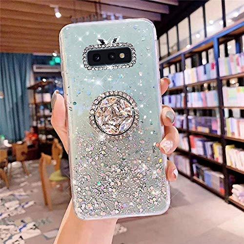 Coque pour Samsung Galaxy S10e Coque Transparent Glitter avec Support Bague,étoilé Bling Paillettes Motif Silicone Gel TPU Housse de Protection Ultra Mince Clair Souple Case pour Galaxy S10e,Vert