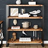 IRONCK Industrial Bookshelf and Bookcase 4 Tier, Wood and Metal Open Bookshelves Storage Shelves for Home Office