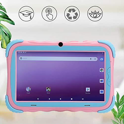 HD Kids Tablet, 7 inch Android 9.0 tablet voor peuters kinderen, 1G + 16G WIFI dual camera educatief spel speelgoed kinderen tablets met schokbestendige behuizing (roze)