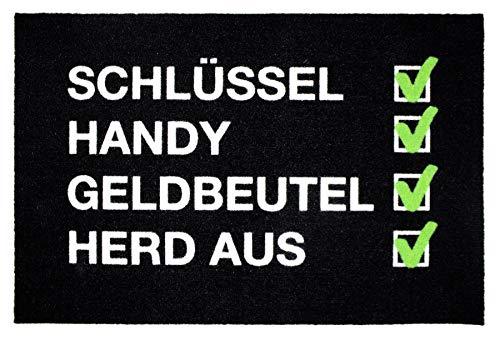 Close Up Fußmatte Checkliste - Vergesslich - lustiger Fußabtreter - Schlüssel, Handy, Geldbeutel - Premium - 60x40 cm
