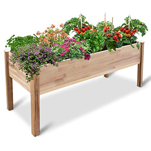 Jumbl Raised Canadian Cedar Garden Bed | Elevated Wood Planter for Growing Fresh Herbs Vegetables Flowers Succulents amp Other Plants at Home | Great for Outdoor Patio Deck Balcony | 72x23x30""