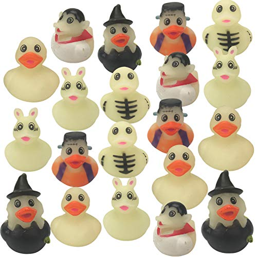 Playko 2 Inch Rubber Ducks - Pack of 24 - Rubber Ducks in Bulk - Rubber Duckies - Rubber Ducks for Pool - Pool Floats for Kids - Colorful Bathtub Toys Halloween Glow-in-the-dark Rubber Duckies