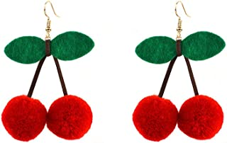 fuzzy cherry earrings