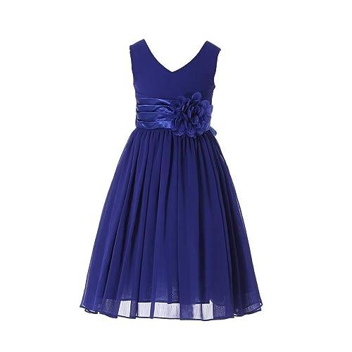 b0e116c216 HAPPY ROSE Junior Bridesmaids V-Neckline Chiffon Flower Girl Dress