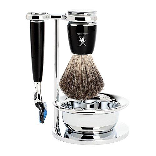MÜHLE - Rasierset mit Schale - RYTMO Serie - Reines Dachshaar - kompatibel mit Gillette® Fusion - Edelharz schwarz