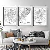LZASMMVP Mapa de la Ciudad de España Barcelona Madrid Málaga Sevilla Valencia Zaragoza Carteles Pinturas en Lienzo Arte de la Pared Impresiones Decoración Interior del hogar 50x70cmx3Pcs Sin Marco