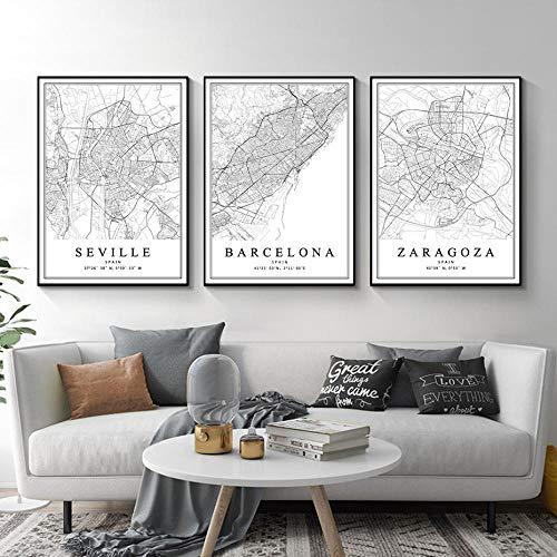 HUANGXLL Mapa de la Ciudad de España Barcelona Madrid Málaga Sevilla Valencia Zaragoza Carteles Pinturas en Lienzo Arte de la Pared Impresiones Decoración Interior del hogar-45x65cmx3Pcs-Sin Marco