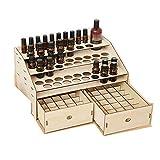 YHtech Huiles essentielles d'affichage Organisateur 122 Machines à sous en Bois Essential Oil Box Organisateur Parfait Huiles Essentielles Cas (Couleur: Naturel, Taille: 36.8X23.8X18.4CM)