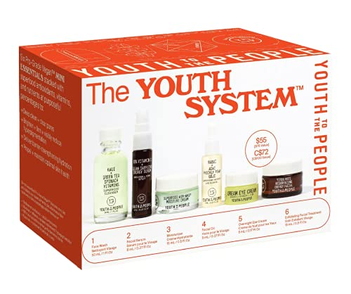 Youth To The People The Youth System - 6 Piece Set with Superfood Cleanser, Face Oil, Moisturizer, Vitamin C Serum, Eye Cream, Energy Facial - Vegan, Clean Skincare Kit