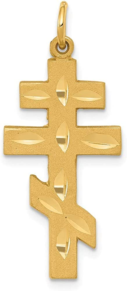 14k Yellow Gold Eastern Orthodox Cross Religious Pendant Charm Necklace Fine Jewelry For Women Gifts For Her