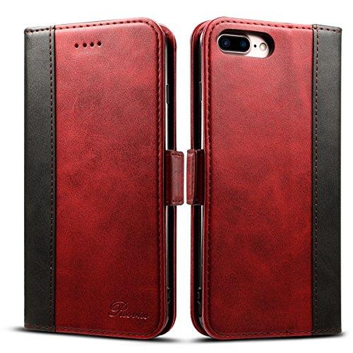 """Rssviss Coque iPhone 7 Plus, Etui Cuir PU pour iPhone 6s Plus [Emplacements Cartes] Protection iPhone 8 Plus avec [Fonction Support] [Boucle Magnétique] Housse iPhone 6/6s/7/8 Plus Cuir 5,5"""" Rouge"""