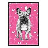 Nacnic Poster de Bulldog Rosa. Lámina Decorativa de Perros. Tamaño A4