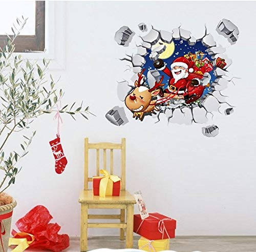 EyeglassesZHY 60x45cmchristmas Window Decorations, Stickers DIY Christmas Glass Stickers Imitating 3D Santa Claus Breaking The Wall Window Stickers, Christmas Decals, Cheap Christmas
