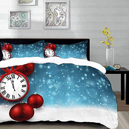 ropa de cama - Juego de funda nórdica, reloj, bolas navideñas temáticas de año nuevo y un fondo de reloj vintage con copos de nieve, multicolor, juego de funda nórdica de microfibra con 2 fundas de al