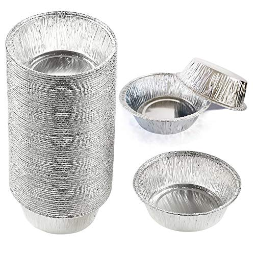 125 Pieces Aluminum Foil Pie Pans,5 Inches Round Disposable Mini Tins for Baking,Eaily Store and Stack.