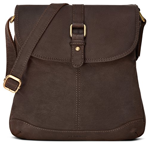 LEABAGS Paris genuine buffalo leather crossbody bag in vintage style - Nutmeg
