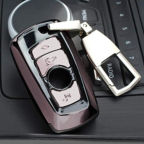 JIANGCJ Funda para llave de coche con llavero y hebilla para BMW F07 F10 F11 F20 F25 F26 F30 (color de pistola)