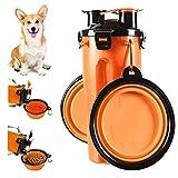 Botella de Agua para Perros Portátil 2 en 1 Envase de Comida para Perro 2 Plegable Tazones para Mascotas Bebedero dispensador Mascotas al Aire Libre Caminar Viajar Cámping Paseo Senderismo (Blanco)