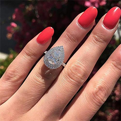 925 Sterling Silver Shining Ladies Ring Pear Cut Teardrop Halo Ring Cubic Zirconia Promise Rings CZ Classic Eternity Engagement Wedding Band Ring for Women (US Code 6)