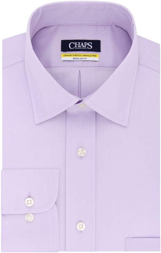 Chaps Men's Regular-Fit Stretch Collar Wrinkle-Free Dress Shirt Purple (16