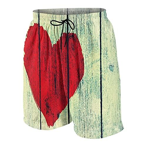 KOiomho Hombres Personalizado Trajes de Baño,Dibujo del símbolo de Amor en la Pared de Madera Vieja,Casual Ropa de Playa Pantalones Cortos