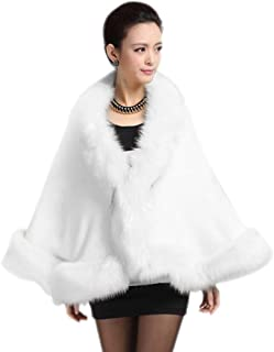 Women Luxury Bridal Faux Fur Shawl Wraps Cloak Coat...