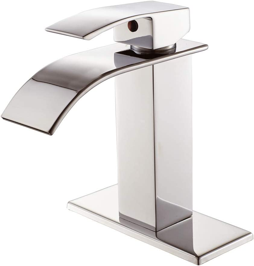 waterfall spout single handle bathroom faucet brushed nickel commercial modern lavatory deck mount