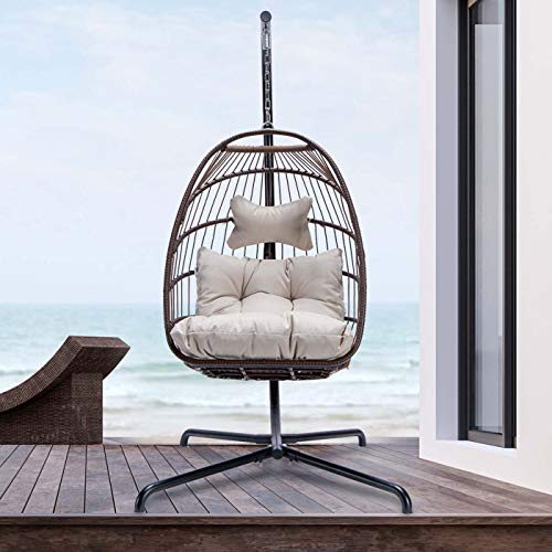 RADIATA Foldable Wicker Rattan Hanging Egg Chair with Stand, Swing Chair with Cushion and Pillow, Lounging Chair for Indoor Outdoor Bedroom Patio Garden (Brown)