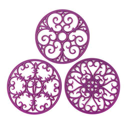 Silicone Trivet Mat - Non-Slip Heat Resistant Kitchen Hot Pads for Countertops Table - Kitchen Trivets for Hot Dishes Cookware - Hot Pot Holder for Pots Pans - Wisteria PurpleSet of 3