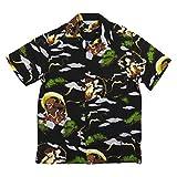 (スタイルド バイ オリジナルズ)Styled by Originals 風神雷神 半袖 和柄 レーヨン100% アロハシャツ XL BLACK(ブラック)