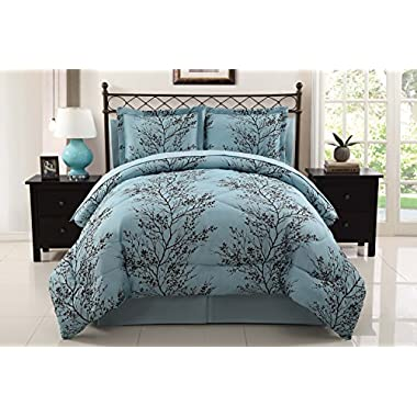 VCNY Leaf 8-Piece Bed-In-Bag Set, Queen, Blue/Chocolate