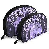Elefantes Morados Logo Makeup Bag Set para Viajes y Almacenamiento Diario - Funda cosmética práctica con Forma de Concha