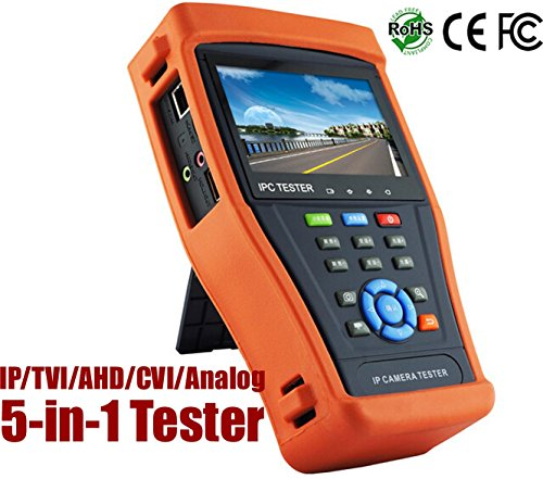 HDView 5-in-1 Touchscreen POE CCTV Tester for IP/AHD/CVI/TVI/Analog Cameras, Support Up to 5MP TVI AHD, 4MP CVI, 8MP 4K IP, 12V DC Power Out, Network Cable Tester, Rechargeable, WiFi, Audio in/Out