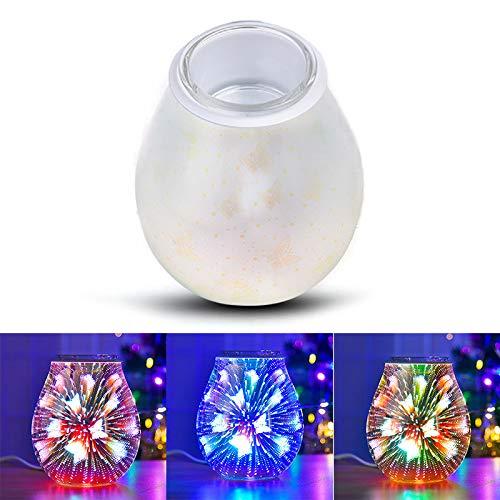 Kasachoy Lámpara de aromaterapia, aroma eléctrico cera derretir quemador 3D lámpara luz nocturna quemador de aceite eléctrico estrellas florales cera derretir para dormitorio nocturno