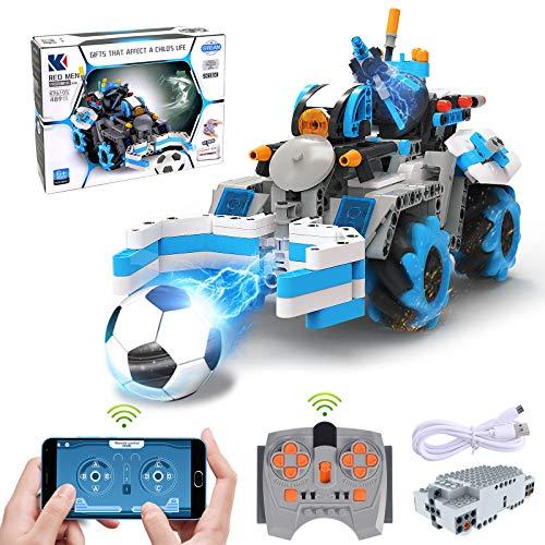 Ferngesteuerter Rennauto Bauset, STEM 4x4 Allrad Fußball Spielzeugauto, GRESAHOM App-gesteuertes Konstruktionsbausatz mit programmierbaren, interkativen Rennwagen, 360 ° Drehbares Rennwagen für Kinder