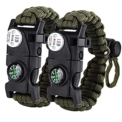 HNYYZL 2 Pack Paracord Survival Bracelet, Upgrade Tactical Paracord Bracelet Emergency Gear 20 in 1- LED Light, Compass, Fire Starter, Whistle, Knife, Etc, for Outdoor Camping Hiking(Army Green)