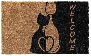 Cranberry Mats Designer Natural Coir Non Slip Doormat for Patio, Front Door, All Weather Exterior Doors (16 X 24 Inch, Brown with 2 Cats Animal)